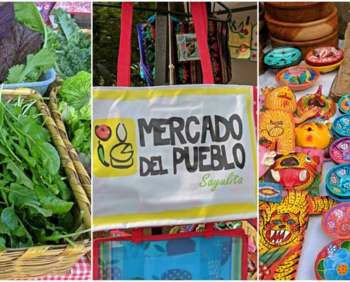 collage, fotos, bolsa, mercado, artesanías
