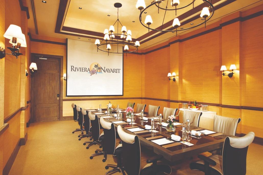 meetings room, logo Riviera Nayarit, room, table