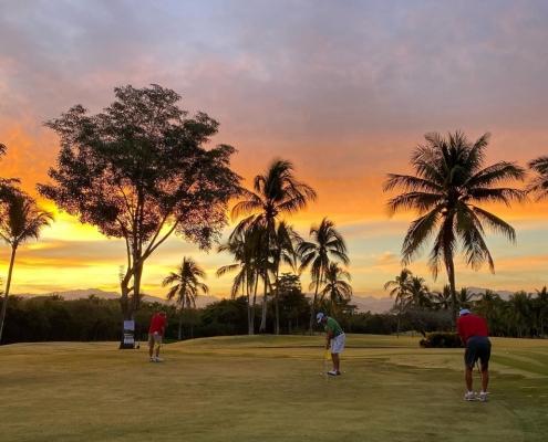 golf course, golf, sunset