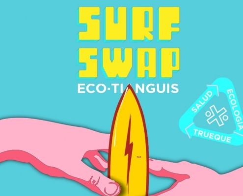 cartel, flyer, surf, Surf Swap Eco Tianguis, manos