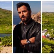 collage, fotos, hombre, Jfoto de Justin Theroux, palmeras, vegetación