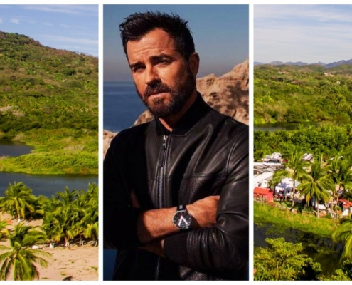 collage, fotos, hombre, Jfoto de Justin Theroux, palmeras, vegetación