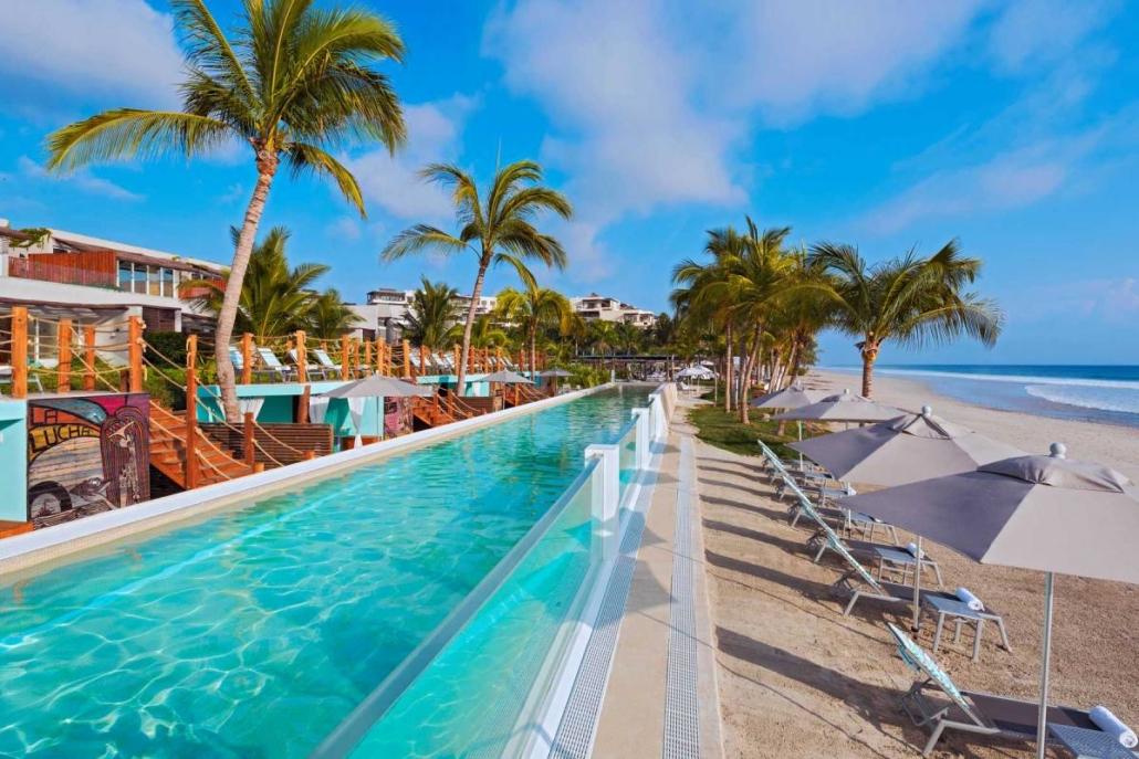 pool, beach, palms, blue, beach umbrellas